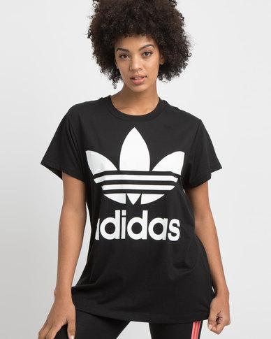 adidas Boxy Trefoil Tee Black/White