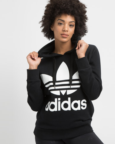 adidas Ladies Adicolour Hoodie Black/White