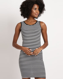 Febble Striped Knit Dress Black