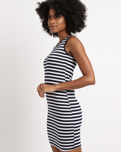 Febble Striped Knit Dress Navy
