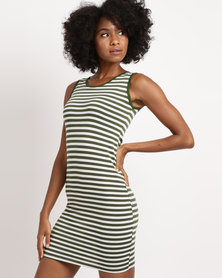 Febble Striped Knit Dress Olive