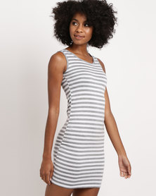 Febble Striped Knit Dress Grey