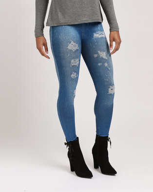 Utopia Denim Look Leggings Blue
