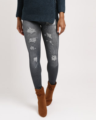 Utopia Denim Look Leggings Charcoal