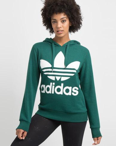 adidas Originals Ladies Adicolour Hoodie Green/White