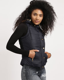 Utopia Sleeveless Puffer With Detachable Hood Navy