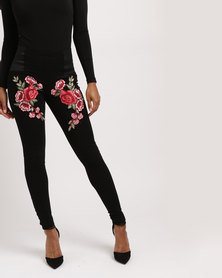 Utopia Ponti Leggings with Embroidery Black