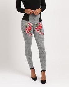 Utopia Check Ponti Leggings with Embroidery Black/White