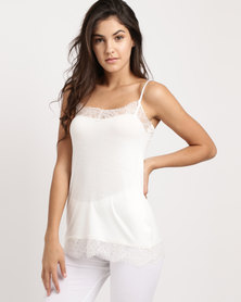 Lila Rose Eyelash Lace Cami Top ELCT Milk