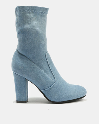 Plum Nelly Ankle Boots Blue Denim