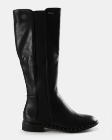 Plum Knee High Boots Black