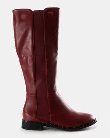 Plum Knee High Boots Burgundy