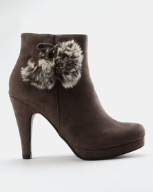 Franco Ceccato Platform Boots With Furry Pompoms Grey