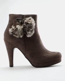 Franco Ceccato Platform Boots With Furry Pompoms Grey