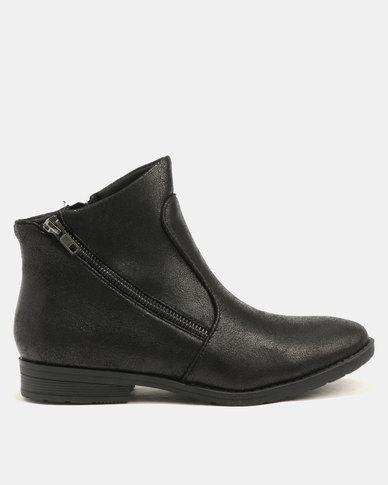 Franco Ceccato Asymmetrical Zip Ankle Boots Black