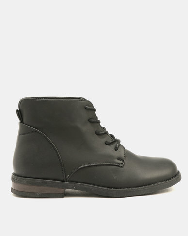 Franco Ceccatoi Short Lace Up Crepe Sole Boots Black