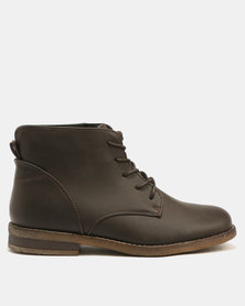 Franco Ceccato Short Lace Up Crepe Soles Boots Dark Brown