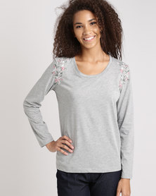 Jeep Scoop Neck Embroidery T-Shirt Grey