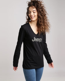 Jeep Core V- Neck Long Sleeve T-Shirt Black