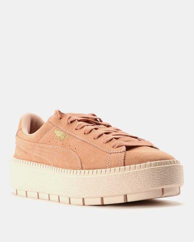 best service 3d413 d72c9 Puma Platform Trace Womens Sneakers Peach Beige Pearl