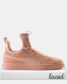 Puma Suede Fierce Womens Sneakers Peach Beige-Peach Beige