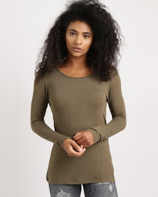 Utopia Longer Length Basic Tee Olive