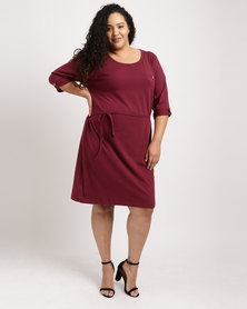 Utopia Plus 3/4 Sleeve Basic T-shirt Dress Burgundy