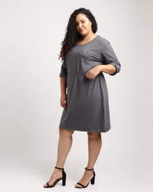 Utopia Plus 3/4 Sleeve Basic T-shirt Dress Charcoal