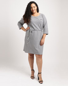 Utopia Plus 3/4 Sleeve Basic T-Shirt Dress Multi