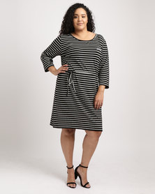 Utopia Plus Stripe 3/4 Sleeve Basic T-shirt Dress Black/white