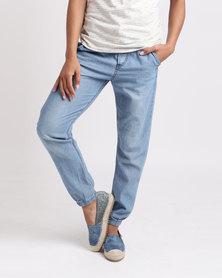 Roxy Tropic Call Denim Pants Medium Blue