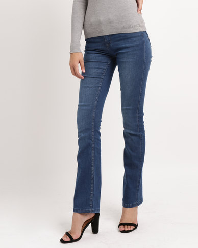 Sissy Boy Axel Mid-rise Bootleg Jeans Med Blue