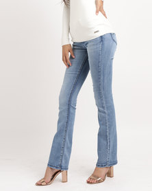 Sissy Boy Axel Mid-rise With Embroidery Bootleg Jeans Light Blue