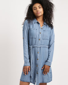G Couture Denim Jacket Dress Blue