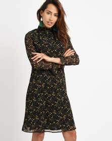 G Couture Chiffon Printed Lined Dress With Neck Tie Black