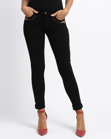 G Couture Ponte Pants With Pocket Details Black