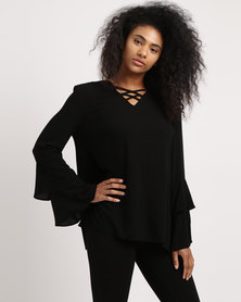 G Couture V Lace Up Detail Layered Sleeve Top Black