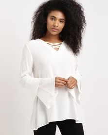 G Couture V Lace Up Detail Layered Sleeve Top White