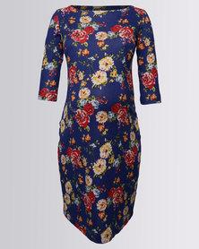 Me-A-Mama Shift Dress Cobalt Floral