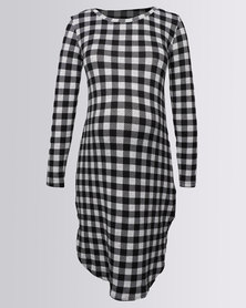 Me-A-Mama Checkerboard Shift Dress