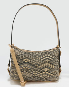 G Couture Metalic Weave Bag Gold-Tone