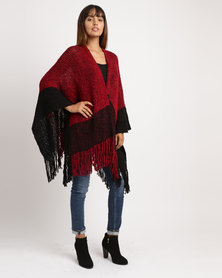 Joy Collectables Block Poncho Burgundy