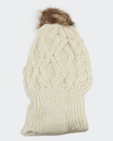 Joy Collectables Pom Cable Knit Beanie Cream