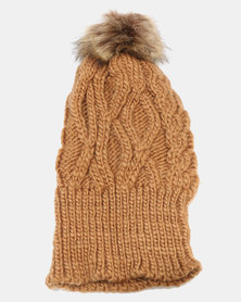 Joy Collectables Pom Cable Knit Beanie Brown