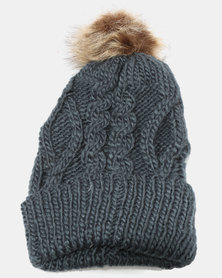 Joy Collectables Pom Cable Knit Beanie Indigo