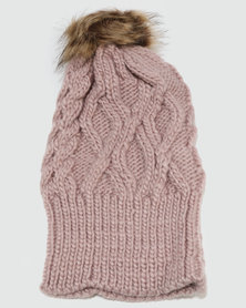 Joy Collectables Pom Cable Knit Beanie Pink