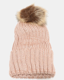 Joy Collectables Fur Ball Turn Up Beanie Pink