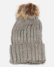 Joy Collectables Fur Ball Turn Up Beanie Grey