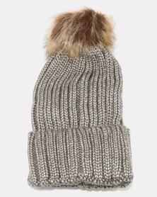 Joy Collectables Fur Ball Turn Up Beanie Grey