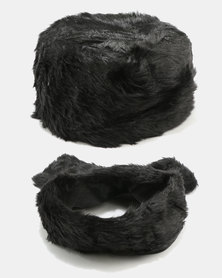 Joy Collectables Faux Fur Hat And Scarf Set Black